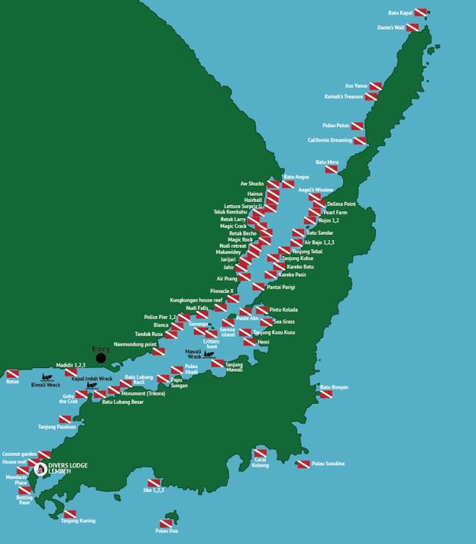 Map Of Lembeh Strait Dive Sites Divers Lodge Lembeh Lembeh Strait