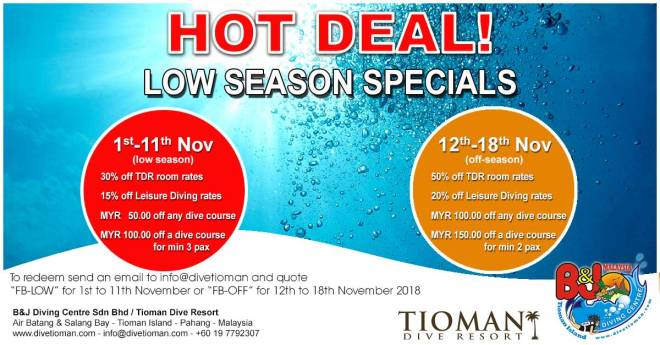 Promotion for B&J and Tioman Dive Resort