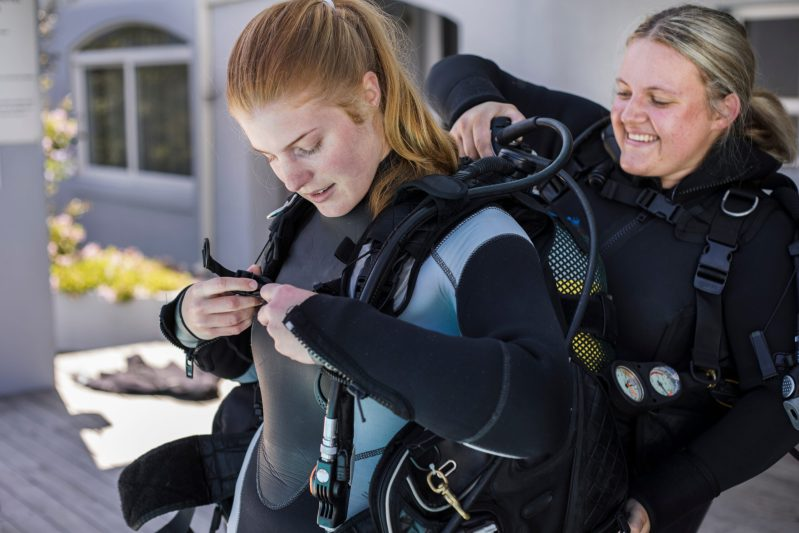 dive-buddy-helps-diver-with-bcd-buoyancy-control-device-scuba-gear