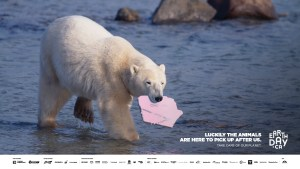 earth-day-canada-polar-bear-picking-up-plastic-pollution-take-care-of-the-planet