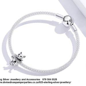 925 Sterling Silver Cute Hanging Cate Charm. Pandora Compatible