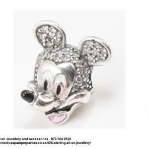 925 Sterling Silver Cubic Detailed Mickey Mouse Charm Bead. Pandora Compatible