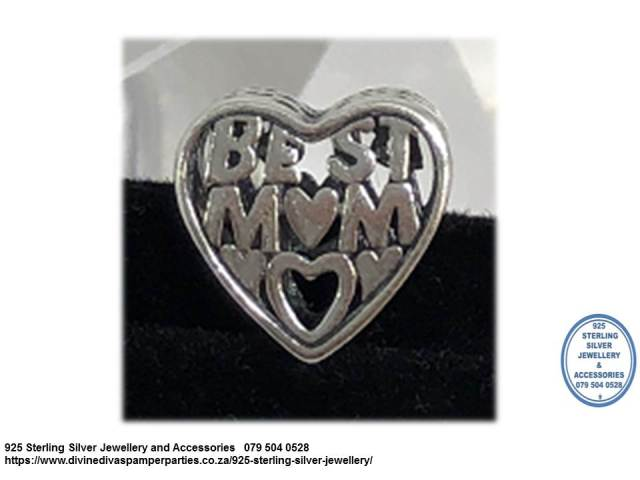 925 Sterling Silver Best Mom Heart  Charm Bead. Pandora Compatible.