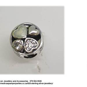 925 Sterling Silver 4 Hearts Charm Bead. Pandora Compatible
