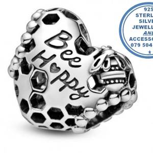 """""""925 Sterling Silver Bee Happy Heart Pandora Compatible Bead Charm"""""""