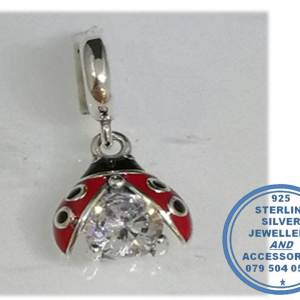 """""""925 Sterling Silver Ladybug and cubic Dangle Charm. Pandora Compatible."""""""