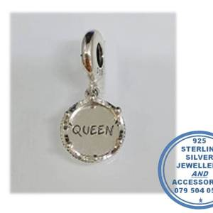 """""""925 Sterling Silver and Rose Gold PLATED Queen Crown Pandora Compatible Dangle Charm"""""""