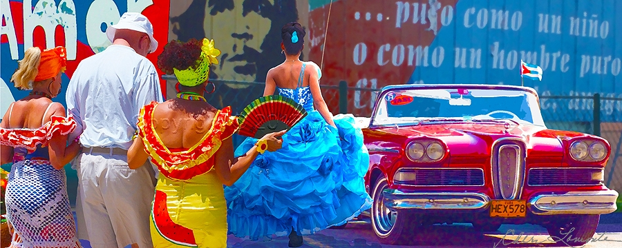 Festive Cuban image of ladies in colorful dresses