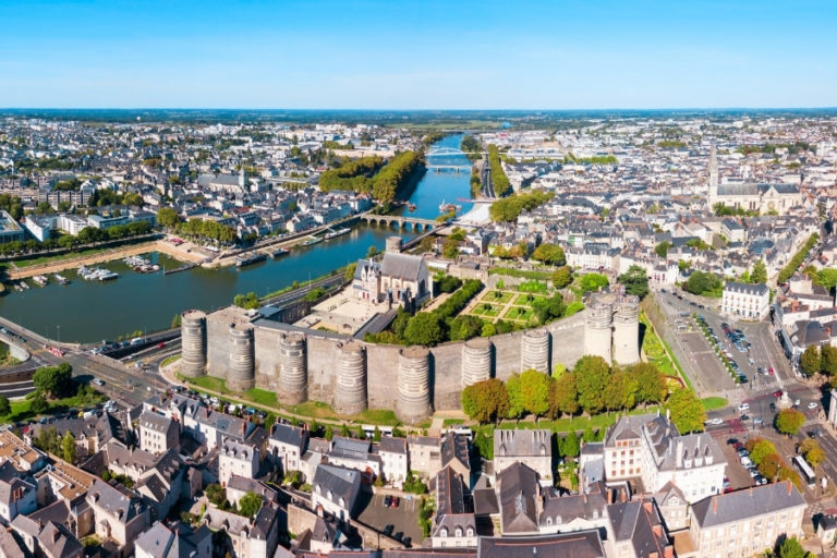Aerial view of Angers and its castle