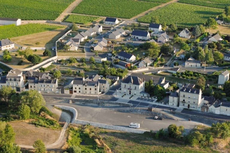 Aerial view of Souzay-Champigny in the Saumur wine region