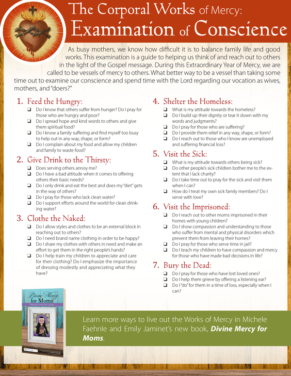 Celebrate the Release of Divine Mercy for Moms with More Free – Corporal and Spiritual Works of Mercy Worksheet