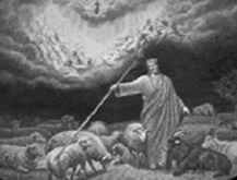 Jesus seperates sheeps and goats