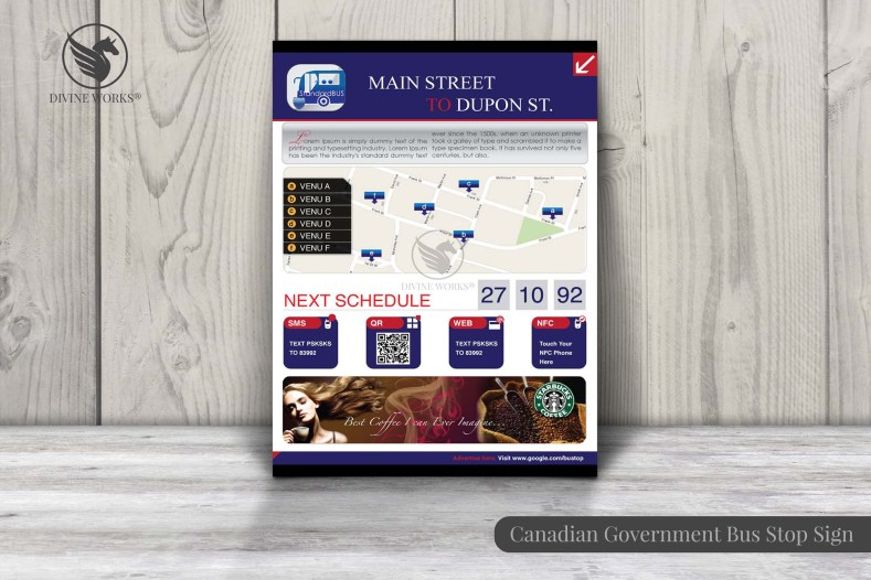 Canadian Bus Stop Route Poster Design By Divine Works