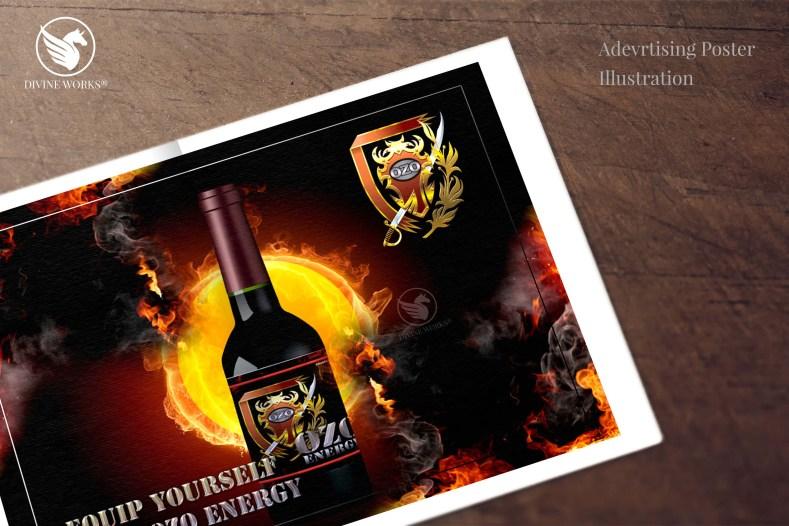 Energy Drink Poster - digital raster illustration by Divine Works