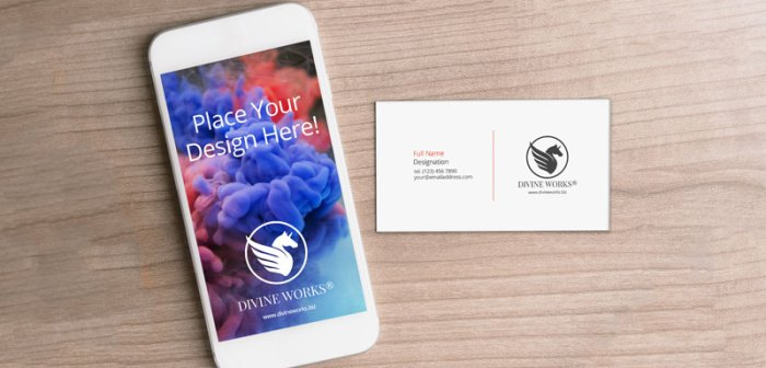 Free iPhone And Business Card Mockup by Divine Works
