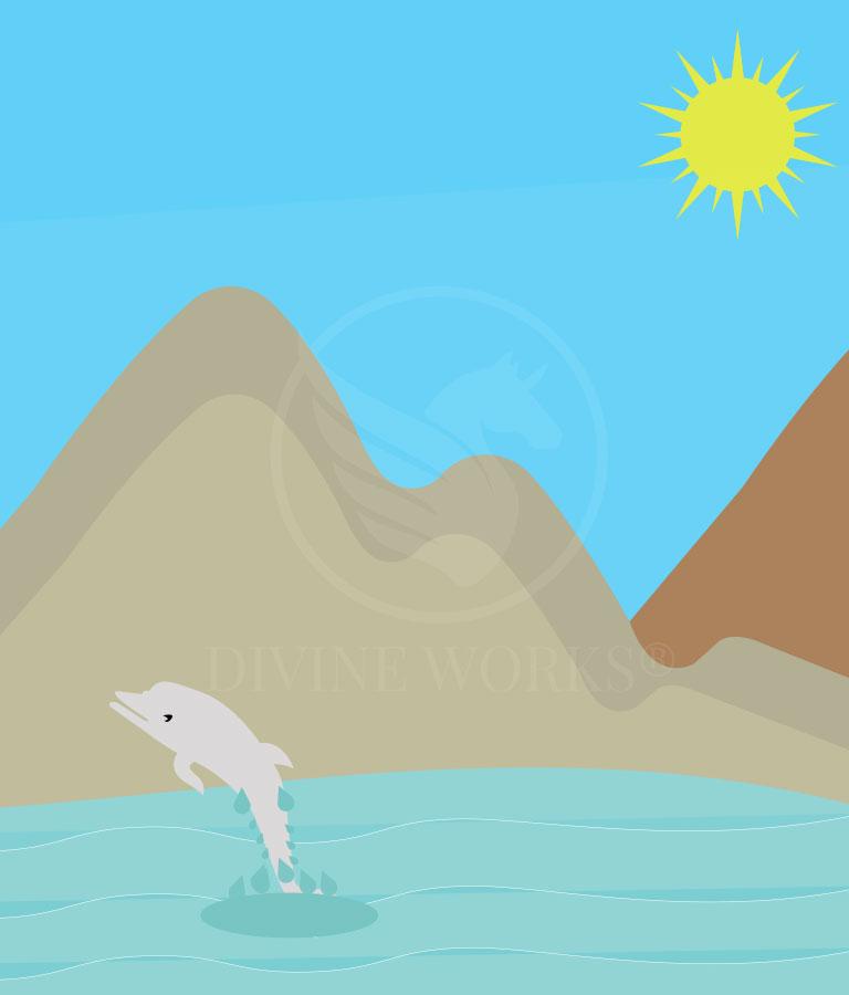 Free Mountain Beach Adobe Illustrator Vector Illustration by Divine Works