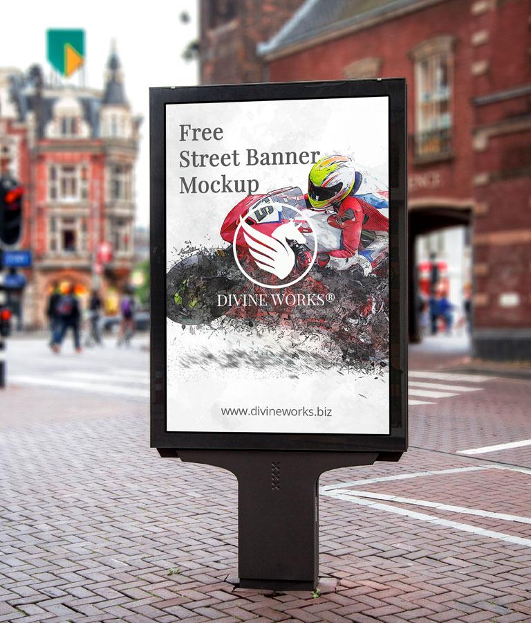 Free Street Inside Banner Mockup by Divine Works
