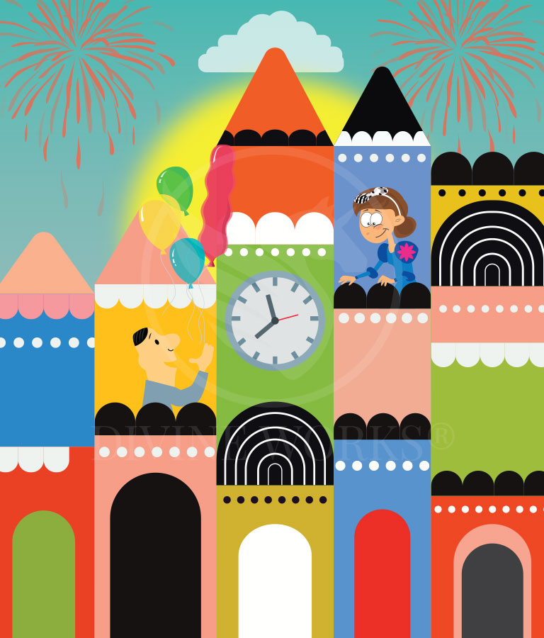 Free Cartoon City Adobe Illustrator Vector Illustration by Divine Works