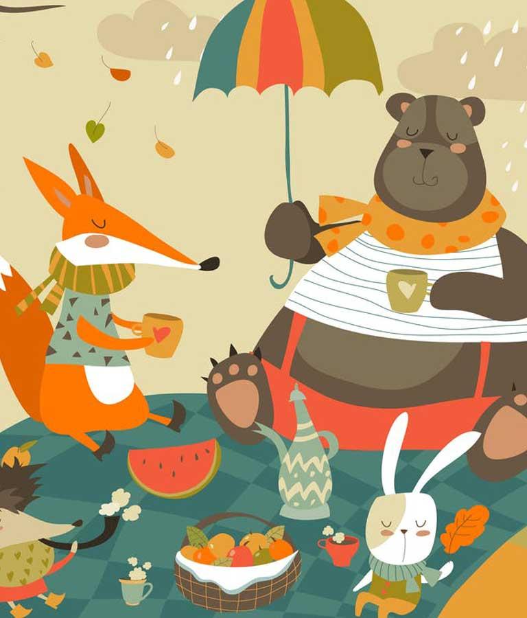Animals At Picnic Vector Illustration