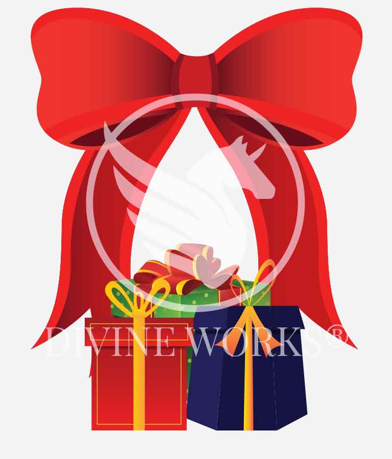 Free Adobe Illustrator Christmas Bow With Gifts Vector Illustration by Divine Works