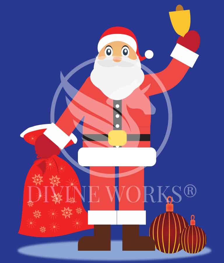 Free Adobe Illustrator Santa Claus With Sack Vector Illustration by Divine Works