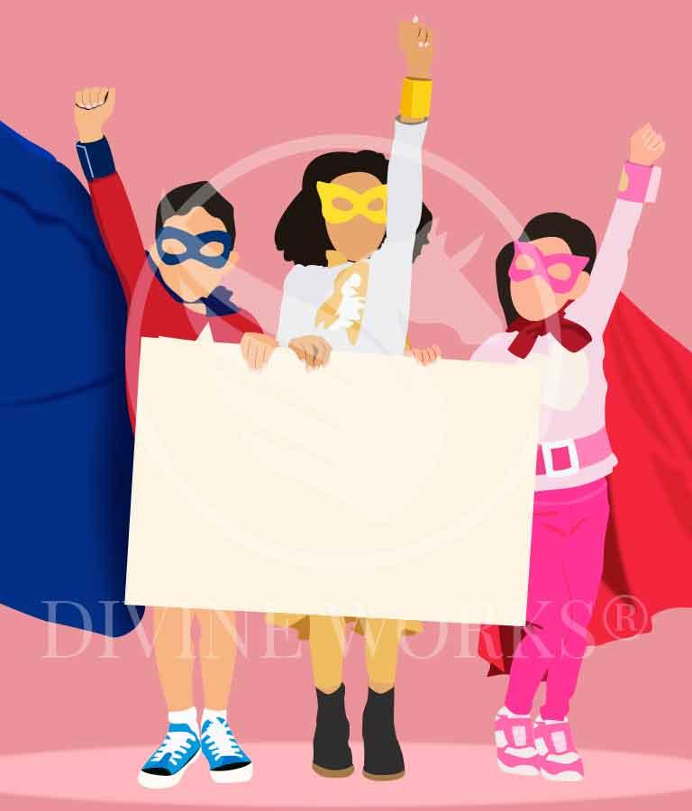 Free Adobe Illustrator Super Kids Vector Illustration by Divine Works
