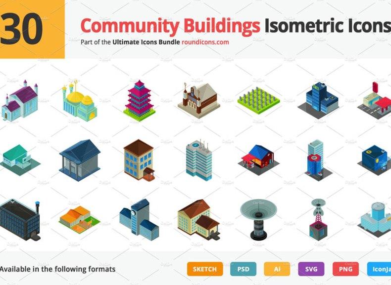 Community Buildings Vector Isometric Icons
