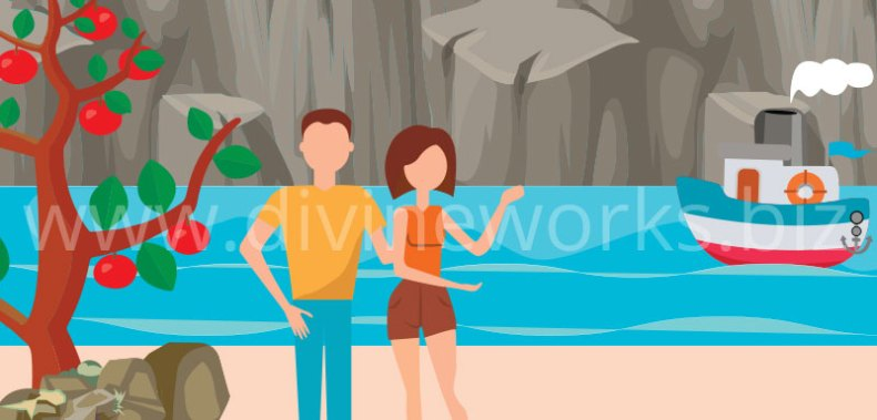 Free Adobe Illustrator Couple On Beach Vector Illustration by Divine Works