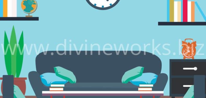Free Adobe Illustrator Living Room Vector Illustration by Divine Works