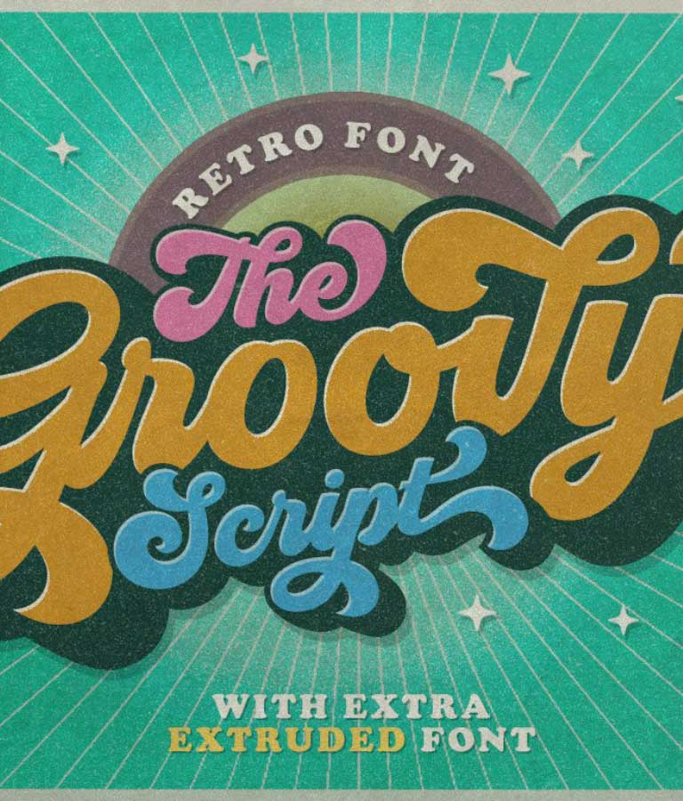 Typography Design with Groovy Retro Font