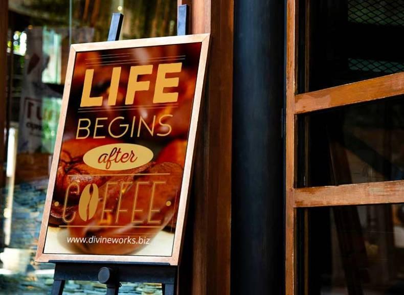 Download Free Cafeteria Shop Signboard Mockup by Divine Works