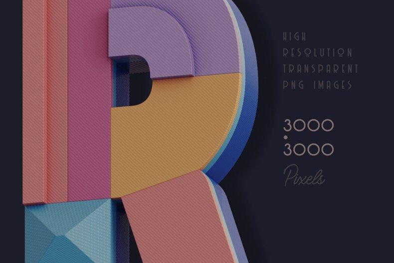 Decorative 3D Geometric Lettering