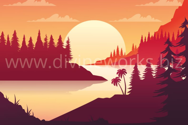Download Free Adobe Illustrator Sunset Landscape Vector Illustration by Divine Works