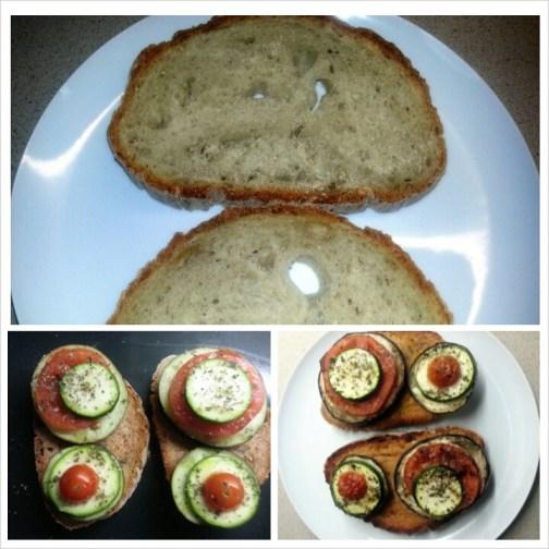 Tostada de Verduras: Berenjena, calabacín y tomate con un poco de oregano y aceite.