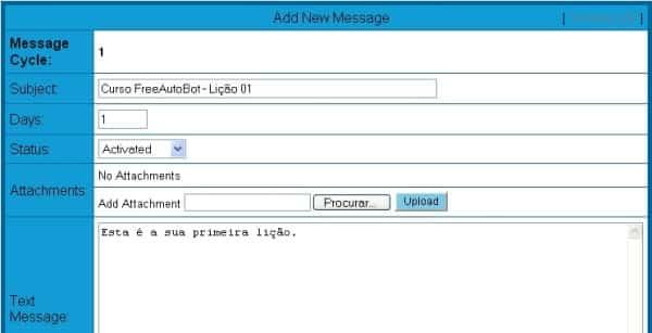 Freeautobot janela message control window add new adicionar nova messagem edit editar