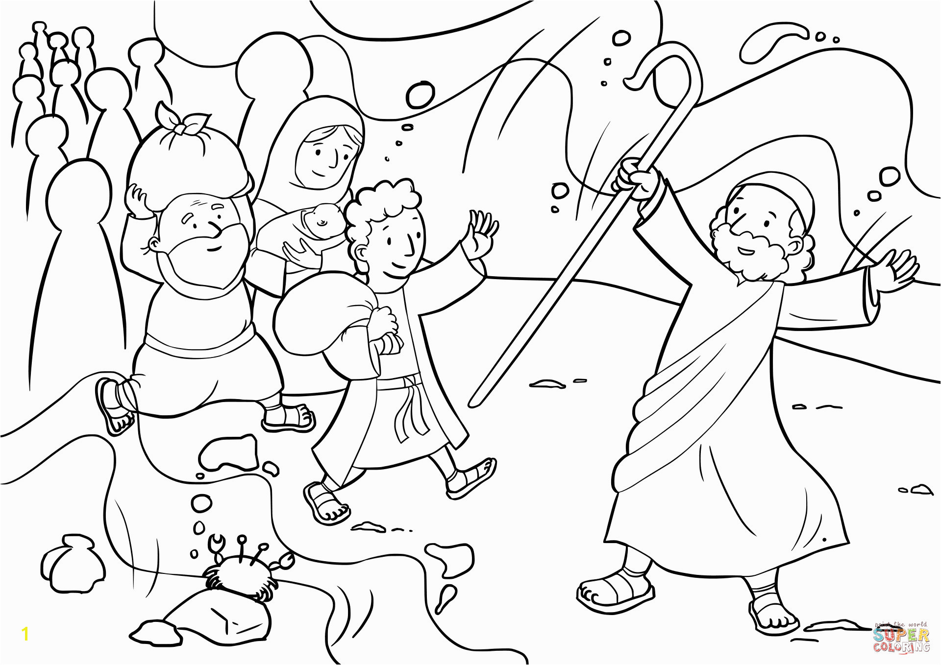 Printable Coloring Pages Of Moses Parting The Red Sea