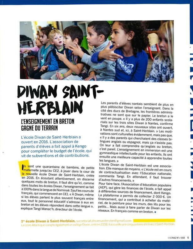 article Kengo ouverture école Diwan Saint-Herblain