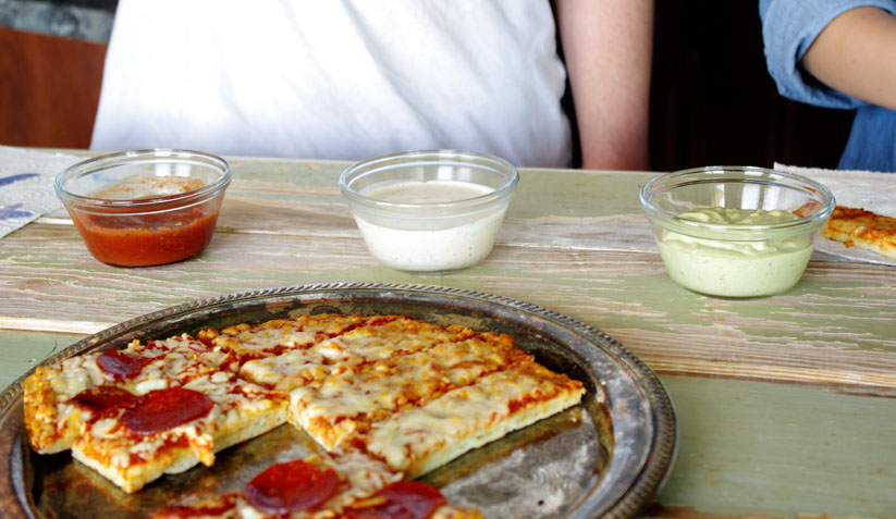 Pizza Strips with Three Dips
