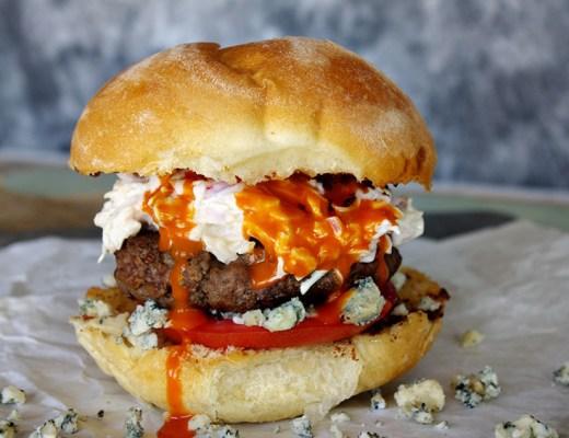 Buffalo Blue Cheese Burger with Jalapeno Slaw