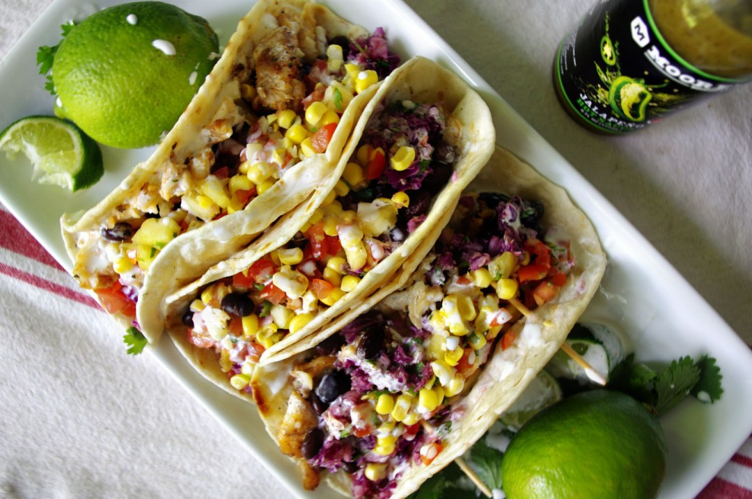 Fish Tacos with Oven Roasted Corn and Jalapeno Slaw