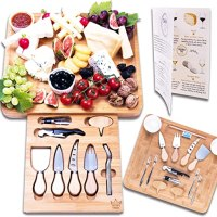 16-piece Charcuterie Cheese Board and Knife Set - Organic Bamboo Wood Cutting and Serving Tray