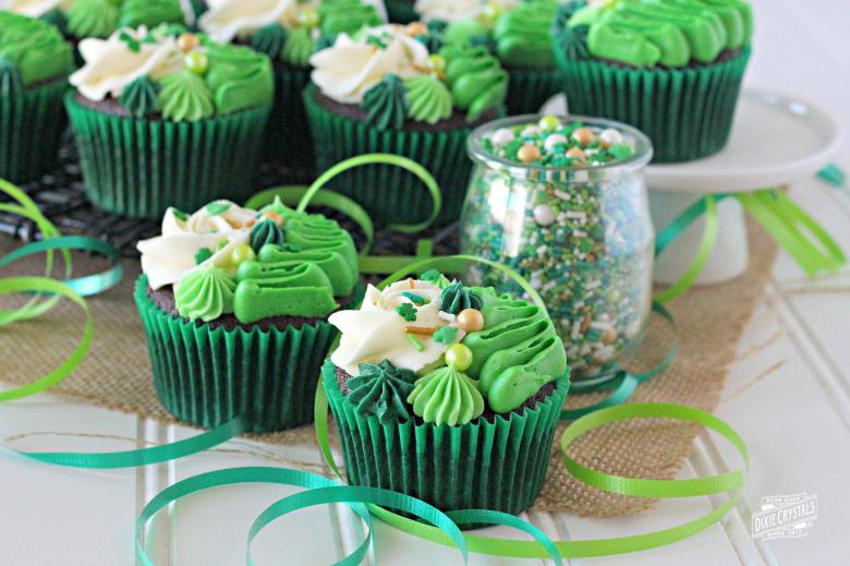 St. Patrick's Day Irish Cream Chocolate Cupcakes