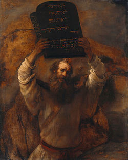 Rembrandt - Moses med de tio budorden. Klicka på bilden för att komma till Google Art Project där man kan se bilden i detalj