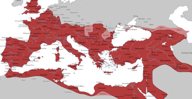 Latinets utbredning under kejsar Trajanus (53-100 e.Kr.)