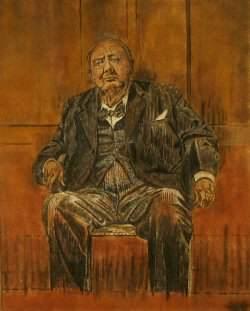 """""""Sand painting"""" av Churchill efter Sutherland´s porträtt"""
