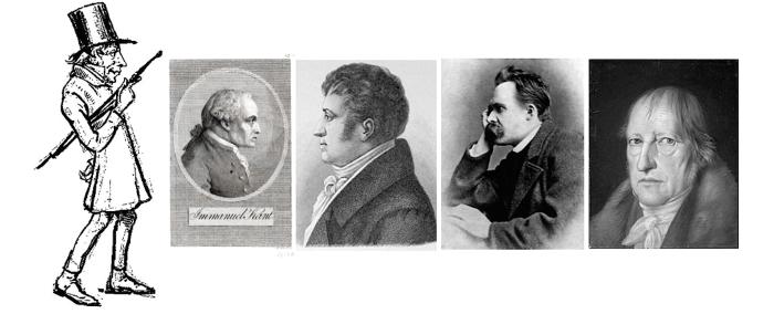 Kierkegaard, Kant, Schlegel, Nietzsche, Hegel (Wikicommons)