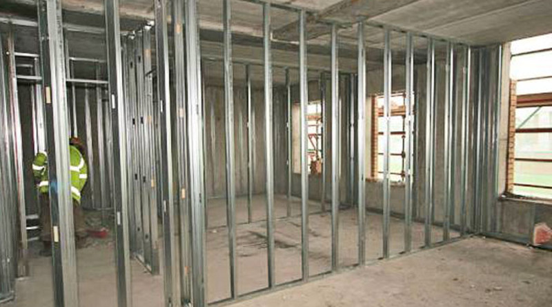 metal-framed stud wall