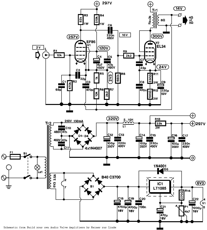 El34 Single Ended Se Tube Amplifier Schematic El 34