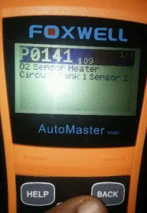 P0141 on my OBD II device