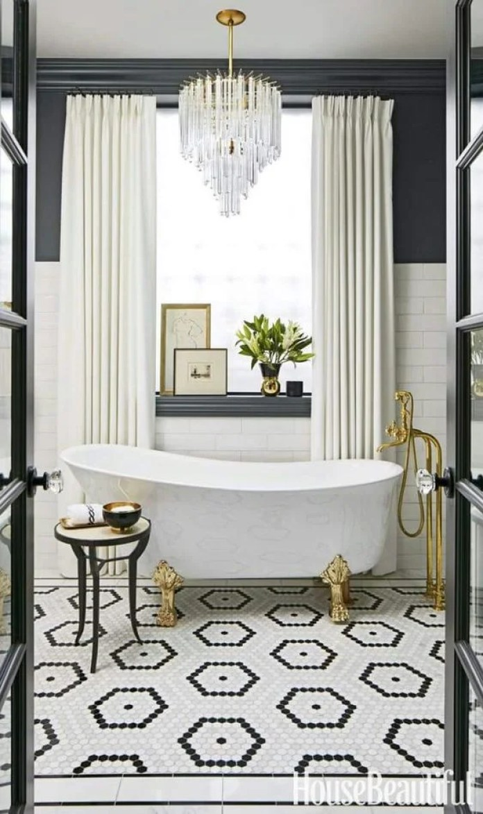 white bathroom blue white gold luxurious